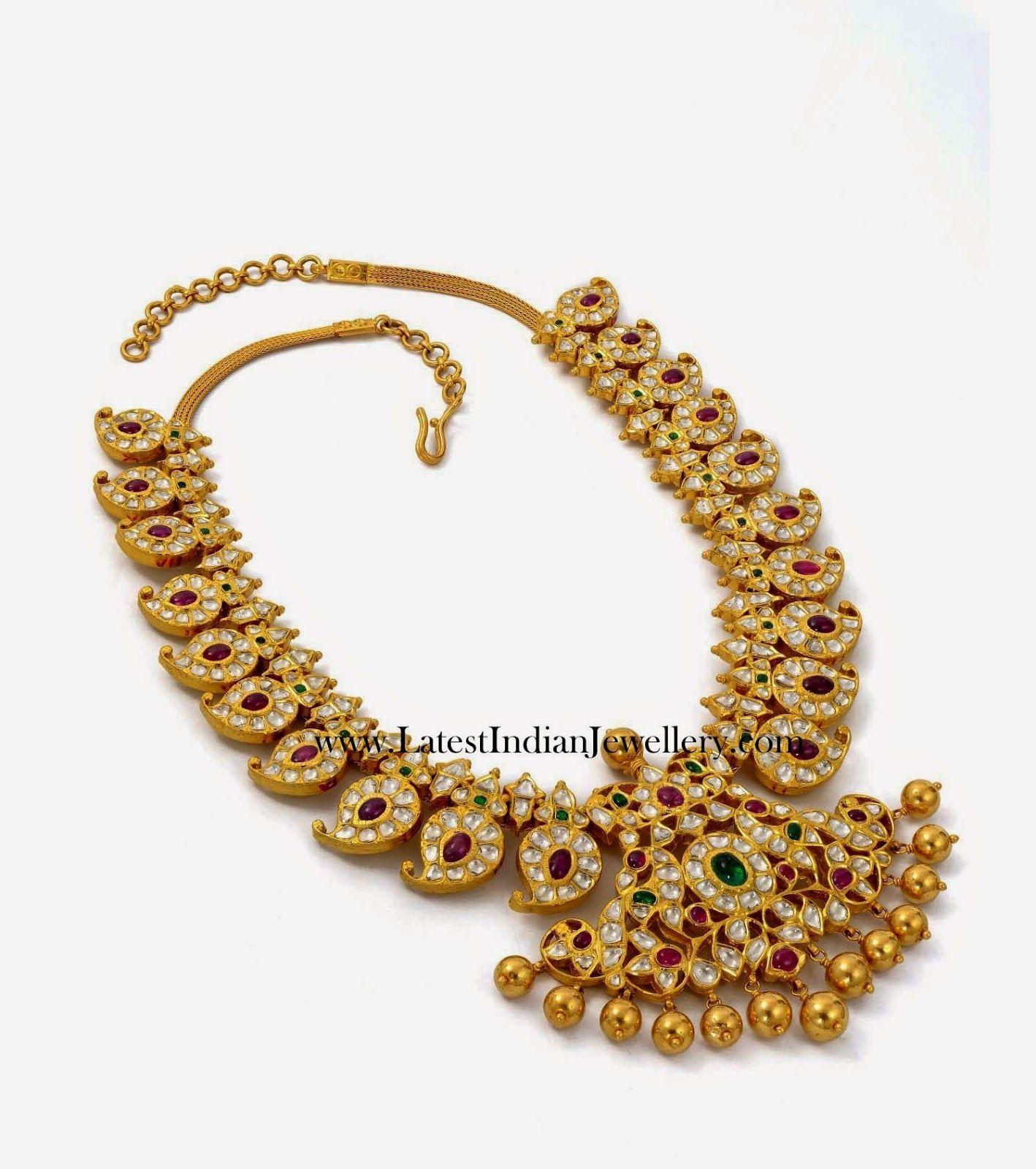 Diamond South Indian Jewellery: Pachi Work Mango Mala Necklace