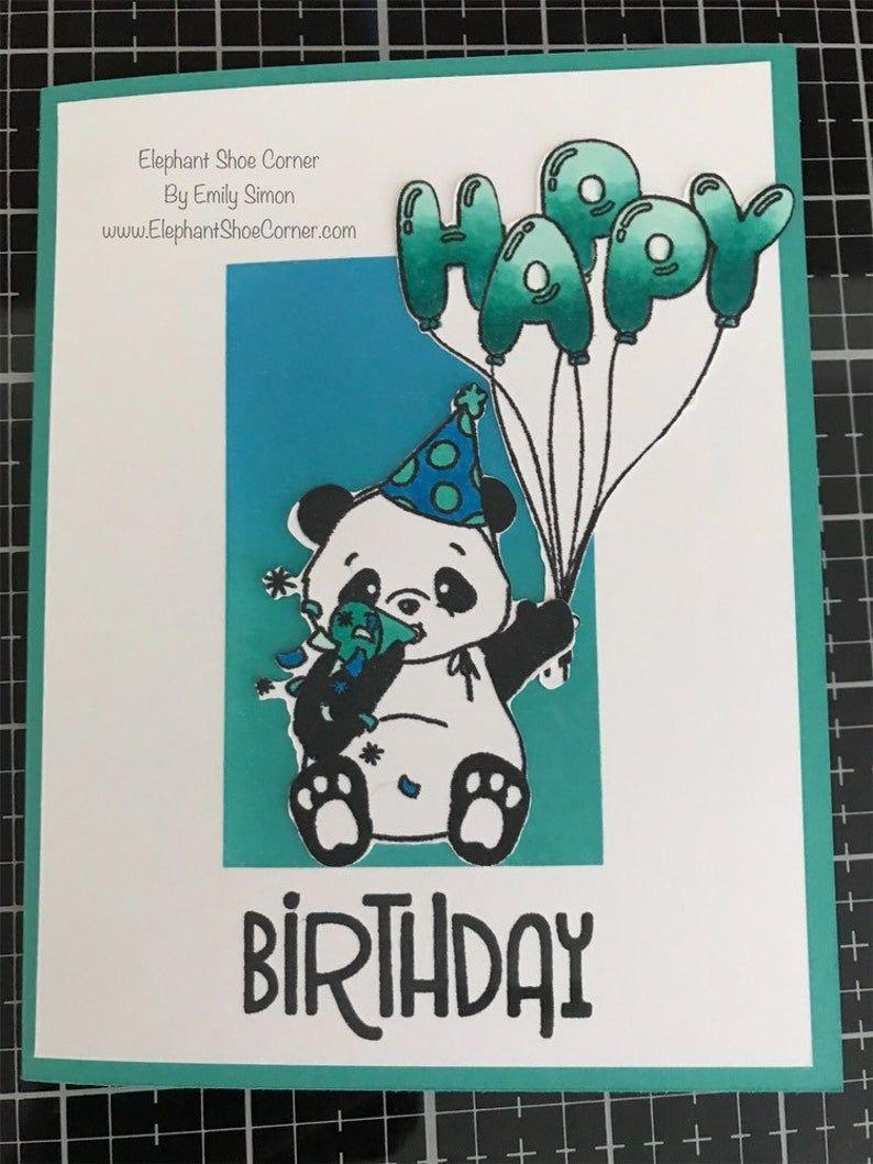 Birthday panda blueteal blending greeting card happy