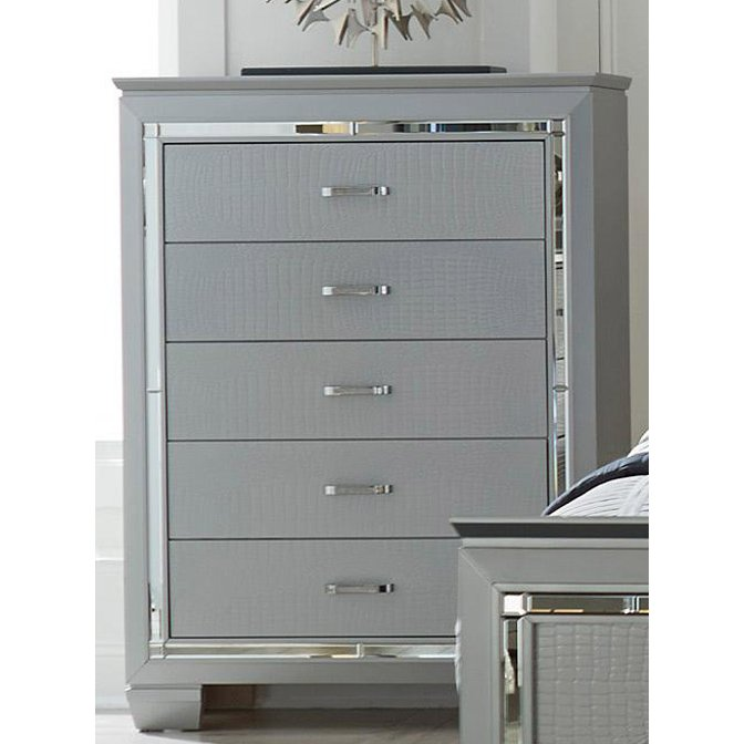 Contemporary Silver And Gray Chest Of Drawers Allura Grey