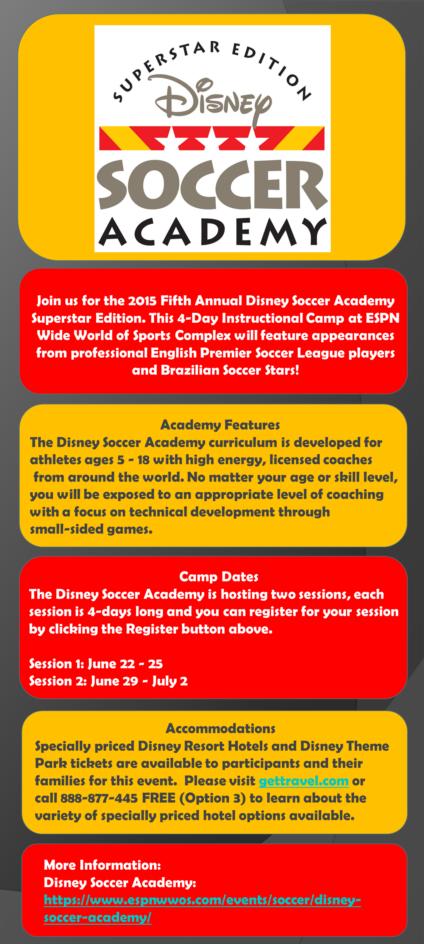 2015 Disney Soccer Academy at ESPN'S Wide World of Sports - Summer 2015