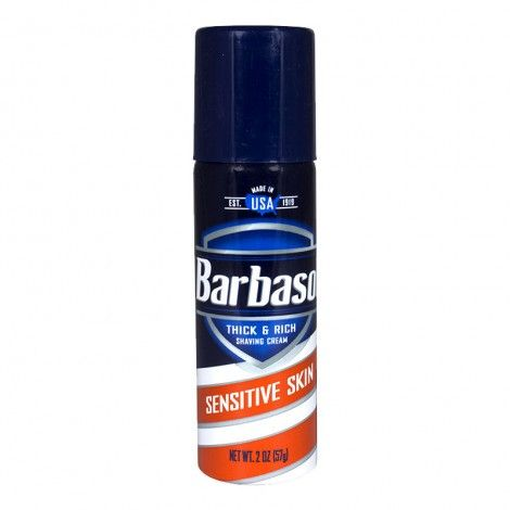 Barbasol Sensitive Skin Shaving Cream Travel Mens Shaving