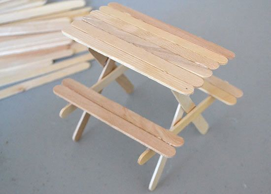 How To Make A Popsicle Stick Picnic Table Factory Direct Craft Blog Popsicle Stick Crafts House Popsicle Stick Houses Diy Picnic Table