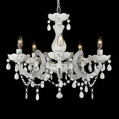 New White Vintage Marie Therese Chandelier Lighting Crystal Light