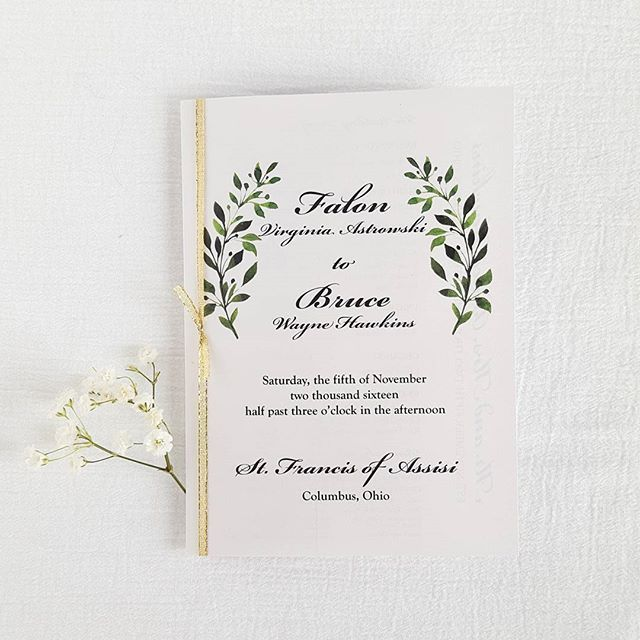Elegant Wedding Booklet Program Using Leaf Watercolors And Gold Glitter  Ribbon To Tie Together. Add
