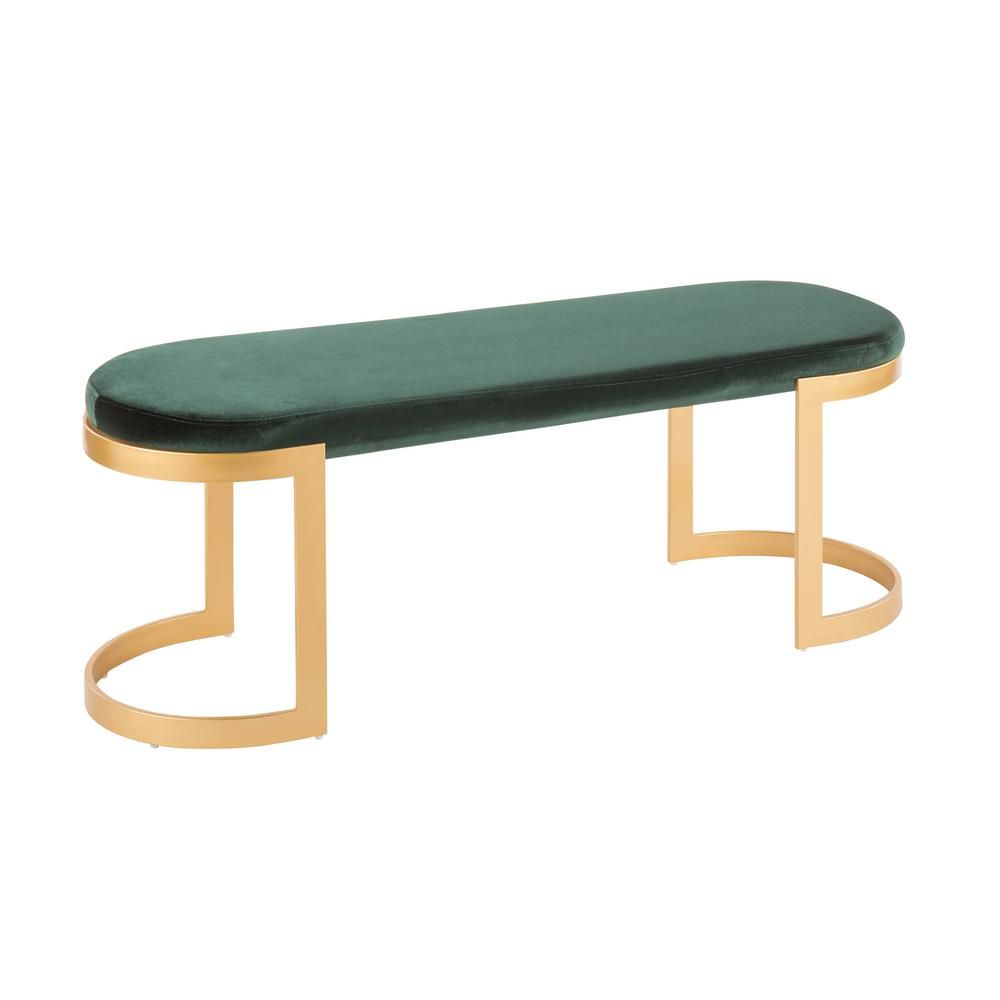 Peachy Lumisource Demi Gold And Green Velvet Bench Green Gold Machost Co Dining Chair Design Ideas Machostcouk