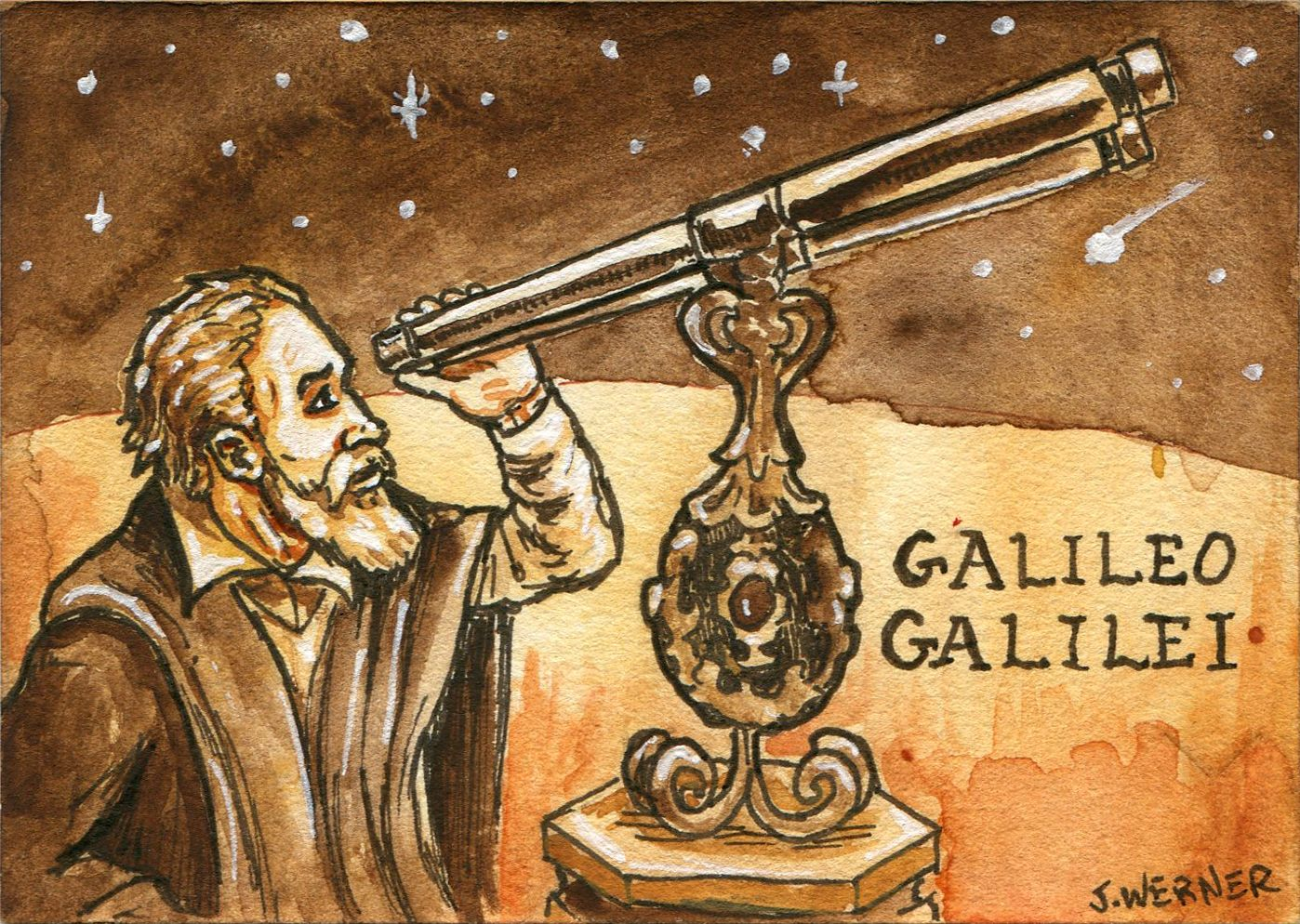 Joshua Werner S Galileo Galilei With Telescope
