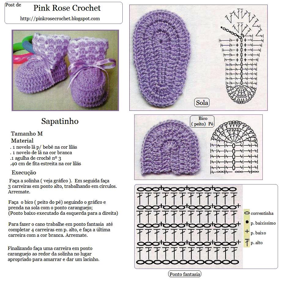 PINK ROSE CROCHET: Sapatinho Roxo Crochê Bebê | обувь | Pinterest ...