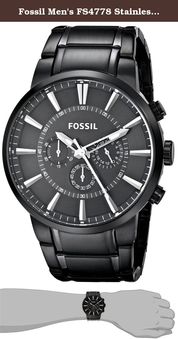 b3a0d0f67 Fossil Men's FS4778 Stainless Steel Watch with Link Bracelet. Watches (Men's  Watches): Fossil Chronograph Stainless Steel Watch (Black).
