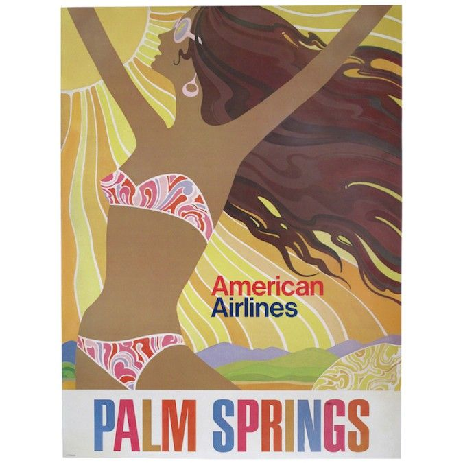 Mod American Airlines Palm Springs travel art.
