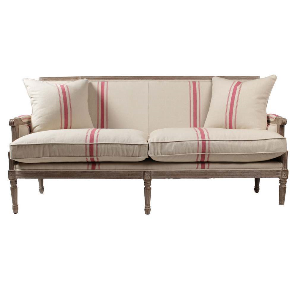 Francesca French Linen Stripe Sofa-Red in 2019 | Products | Striped ...