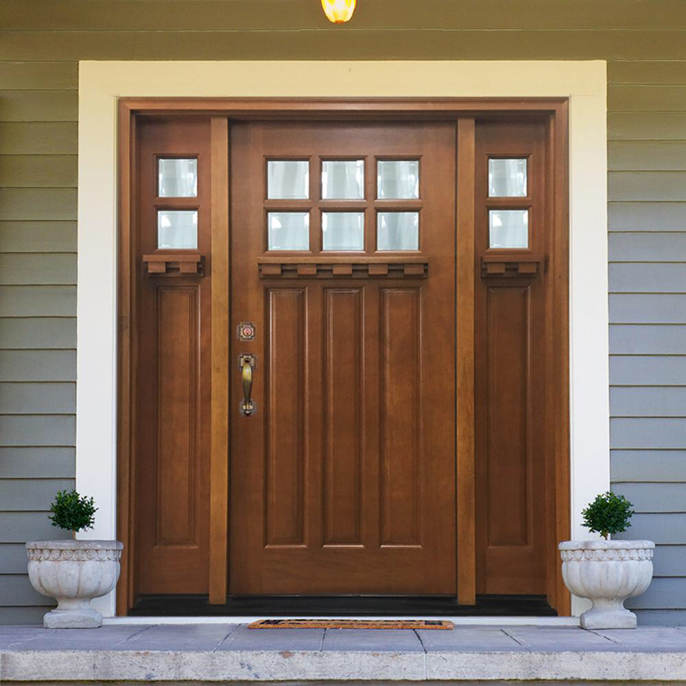 Steves Sons 64 In X 80 In Craftsman Bungalow 6 Lite Right Hand Inswing Wheat Stained Wood Prehung Front Door 12 In Sidelites M3306 123612 Aw 4irh In 2020 Wood Exterior Door Craftsman Bungalows Craftsman Door
