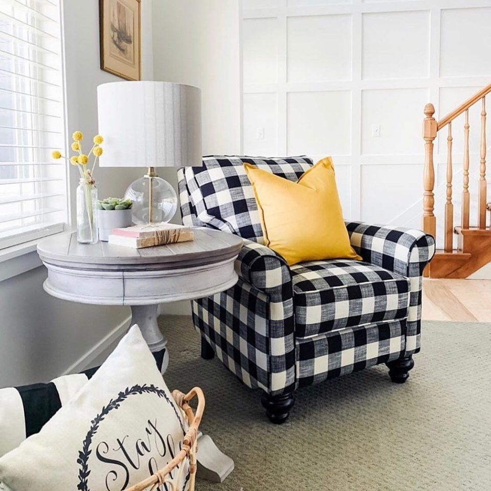 How Darling Is This Cozy Corner We Love That Buffalo Plaid Accent Chair Ourfigtreecottage Tha French Country Living Room Stylish Chairs Living Room Inspo #stylish #chair #for #living #room
