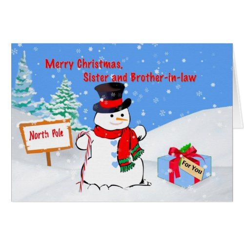 Christmas, Sister and Brother-in-law, Snowman Card