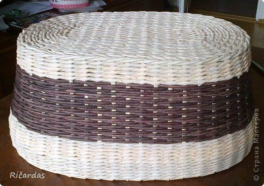 Мастер-класс Поделка изделие Плетение Овальная хлебница+маленький МК Бумага газетная Трубочки бумажные фото 8