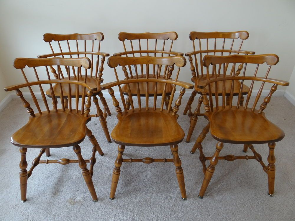 S. BENT Bros   Colonial Windsor Chair SET   Hard Rock Maple   PRISTINE  Condition