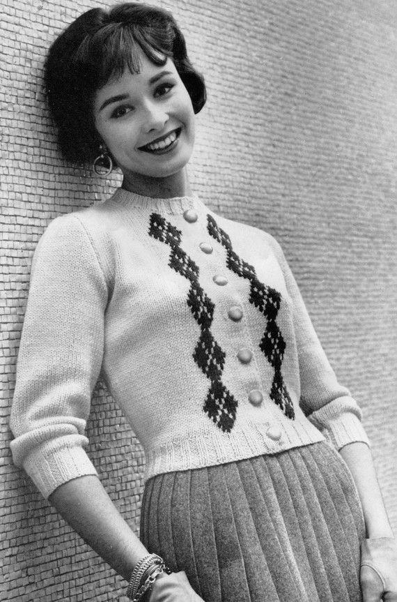 Womens 1960s Retro Trim Fit Cropped Cardigan Pdf Knitting