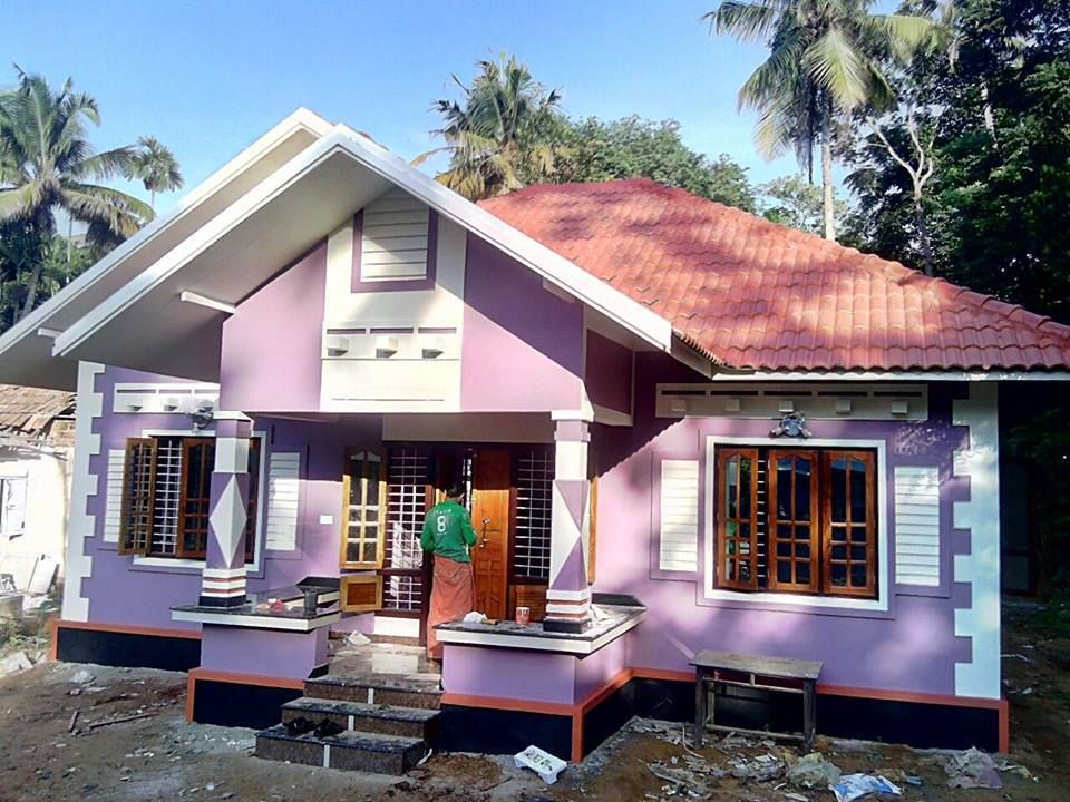 Nice Exterior With Purple Colour With White On Borders Rombus Stencil Design On Pillar Giving A Different Look House Styles Modern Design Amazing Architecture
