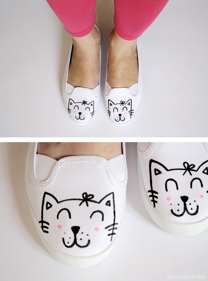 e70d9c81c4acb How to easily make kitty shoes. | Make | Cat shoes, Sharpie shoes ...