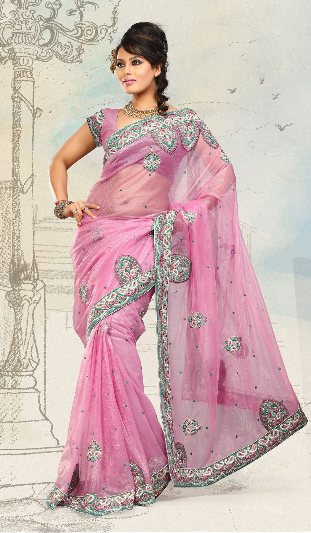 Rose Pink Net Indian Designer Wedding Sare
