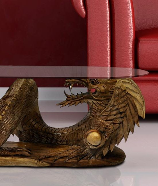 Fairtrade Solid Wooden Large Dragon Coffee Table By @Siiren