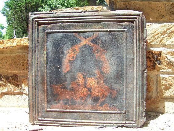 Antique Ceiling Wall Tile Tin Western Cowboy Art Kitchen Backsplash
