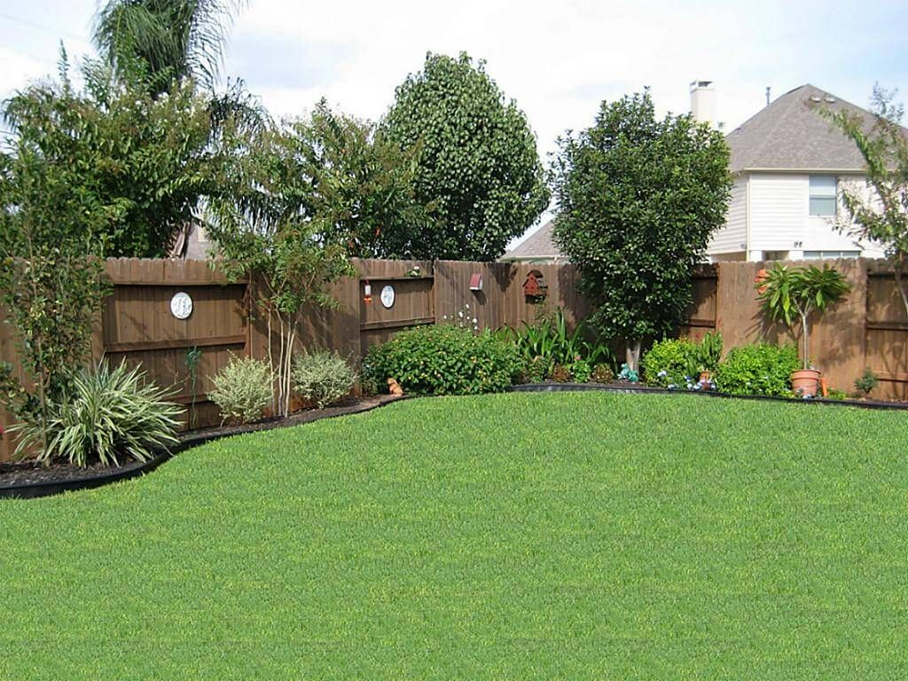 Superb American Backyard Landscaping Ideas With High Quality Grass And Wood Fence  Plus Large Backyard