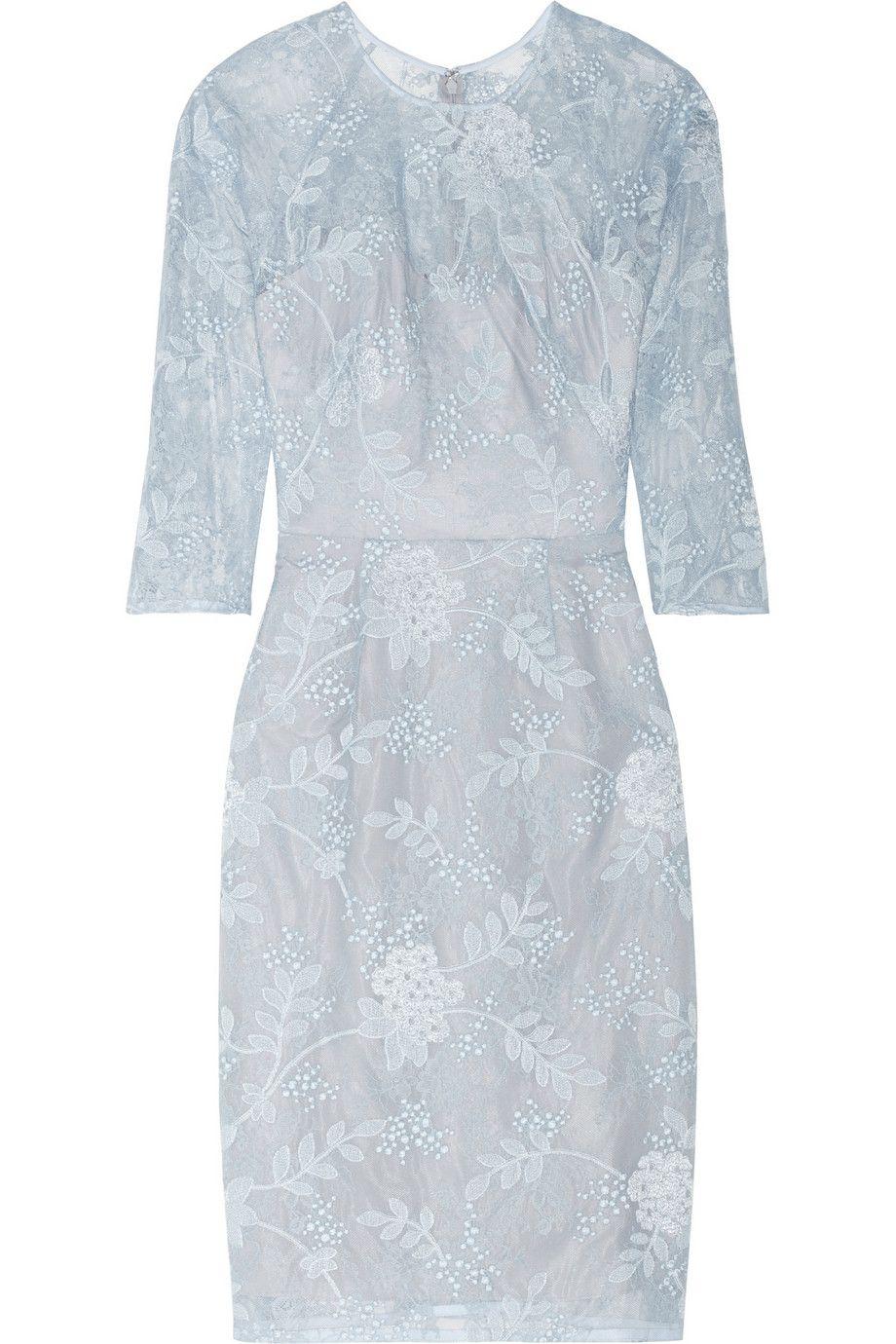Royal blue lace dress styles  Lela Rose  Chantilly lace dress  NETAPORTERCOM  Looks Iud Love