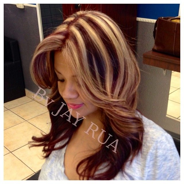 Burgundy with chunky highlights highlights burgundy with chunky highlights highlights pmusecretfo Gallery