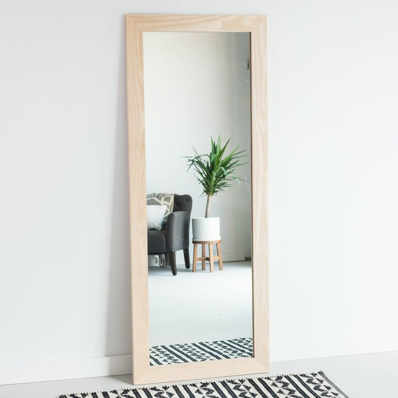 Blonde wood full length mirror floor mirror wardrobe