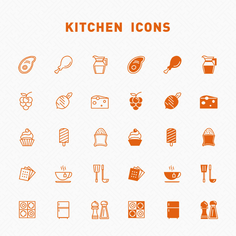 free line & filled kitchen icons icons ai food free graphic design