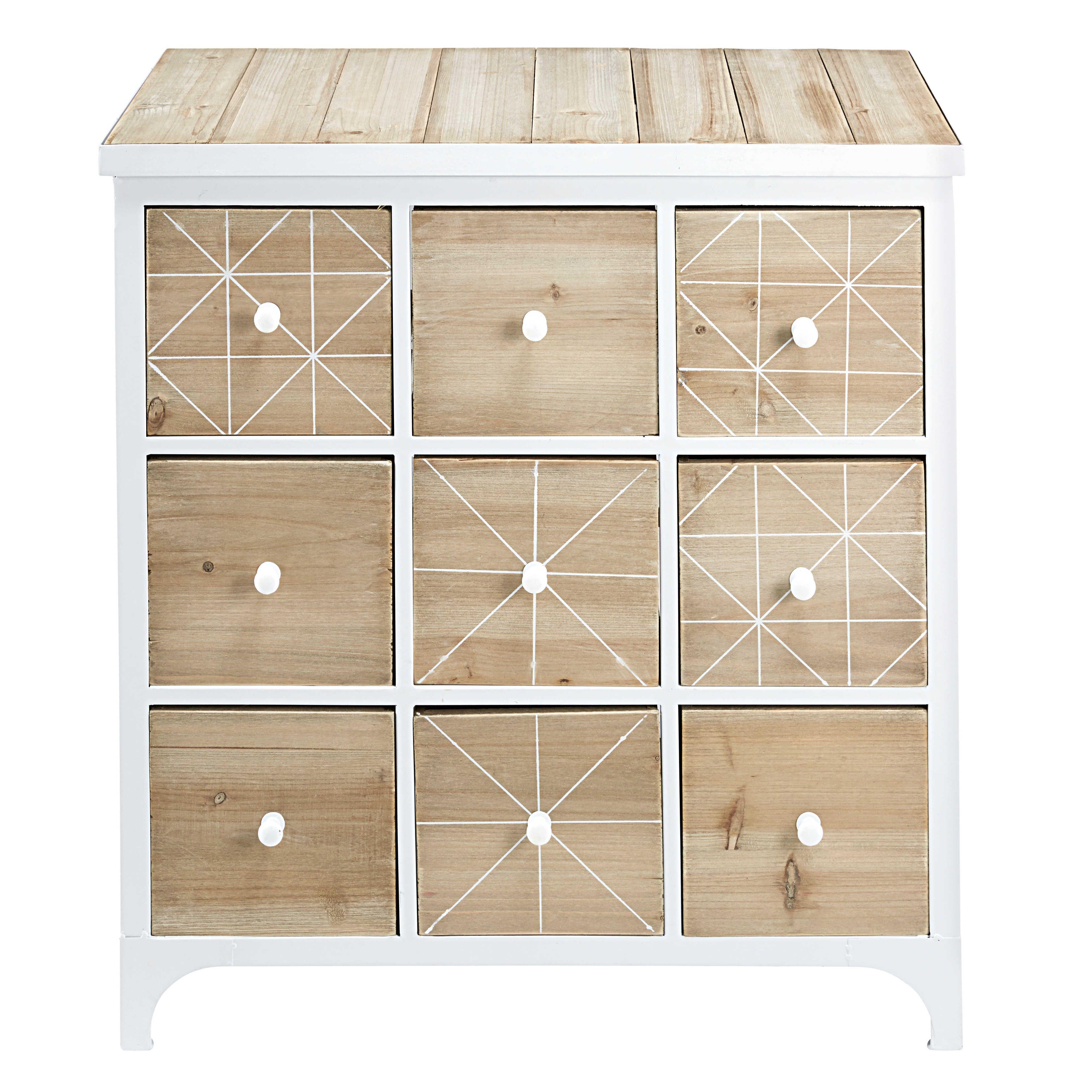 Cabinet 9 Tiroirs En Sapin Et Metal Blanc L 79cm Maisons Du Monde Schubladen Kommode Holz