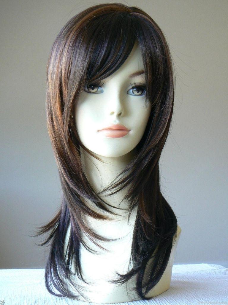 Long Layered Dark Hair Ampgta2 Beauty Long Layered Dark Brown Highlight Salon Wigs Hair Hair Styles Long Hair Color Long Hair Styles