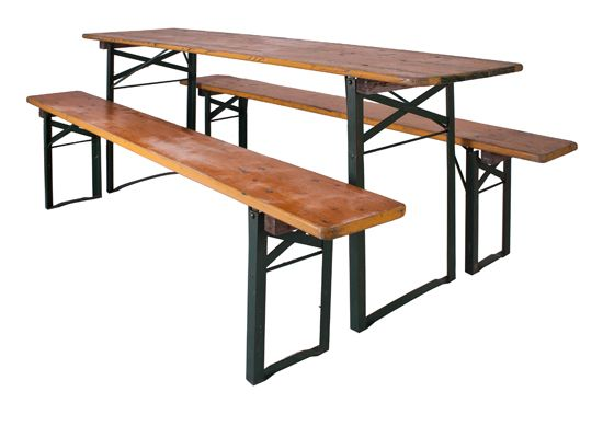 Lovely German Beer Hall Table And Two Benches