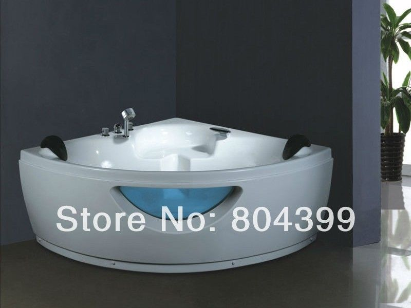 massage bathtub bath tub indoor Two pillows with green colored glass ...