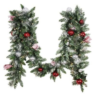 Too Christmasy Home Accents Holiday 12 Ft Battery Operated Frosted Mercury Artificial Garland With Artificial Garland Frosted Garland Shatterproof Ornaments