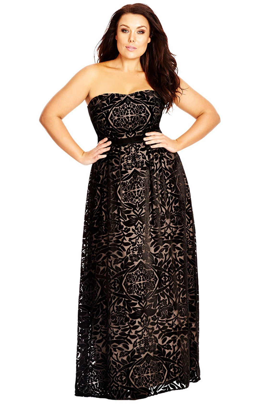 Free shipping and returns on City Chic Strapless Burnout Velour Maxi ...