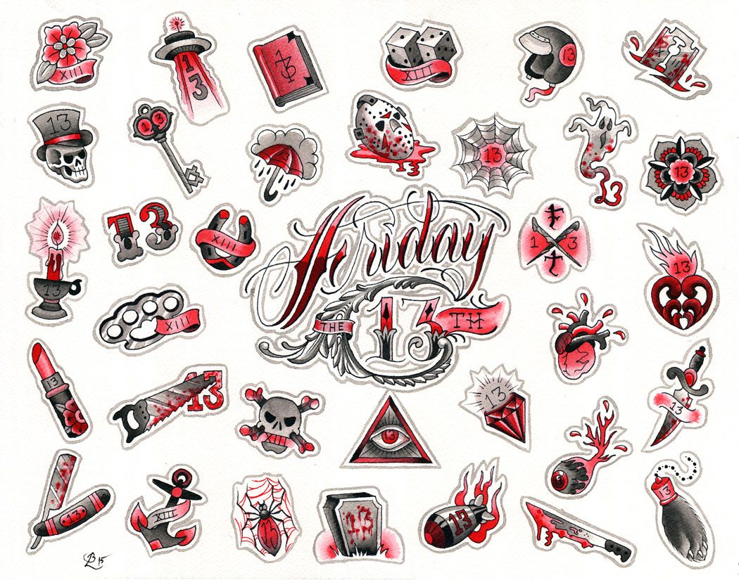 This Friday is Friday the 13th! Come on down and get yourself a $31 Friday the 13th inspired tattoo. Anything off this page is just $31 (plus tip) so bring your friends. As usual with these specials, it will be first come-first served. No need to call ahead, we are doing these $31 tattoos all