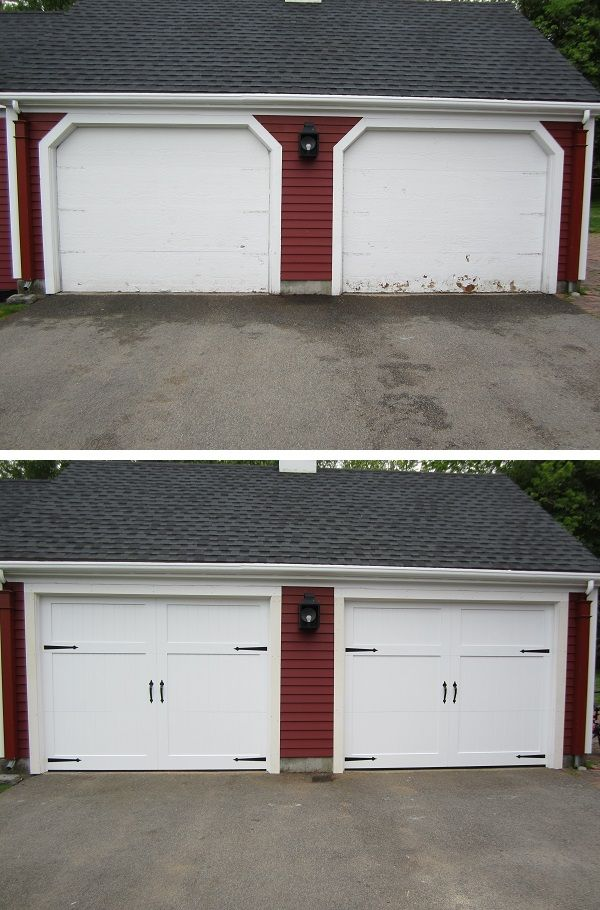 Reframe And New Garage Door Install With Cambridge Series Carriage House 2 Panel Design With Spade Decorative Hardware I Garage Doors Door Installation Garage