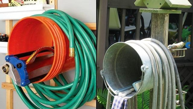 Wall Mount A Bucket To Keep Your Garden Hose Under Control Water Hose Holder Garden Hose Garden Hose Hanger