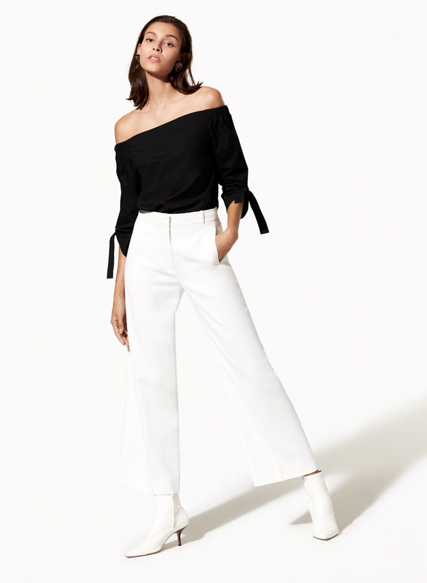How to wear off-the-shoulder tops and dresses:  From Artizia, this off-the-shoulder silhouette is made even prettier with tie detailing on the sleeves. The lightweight and softly structured poplin stays looking polished all day.