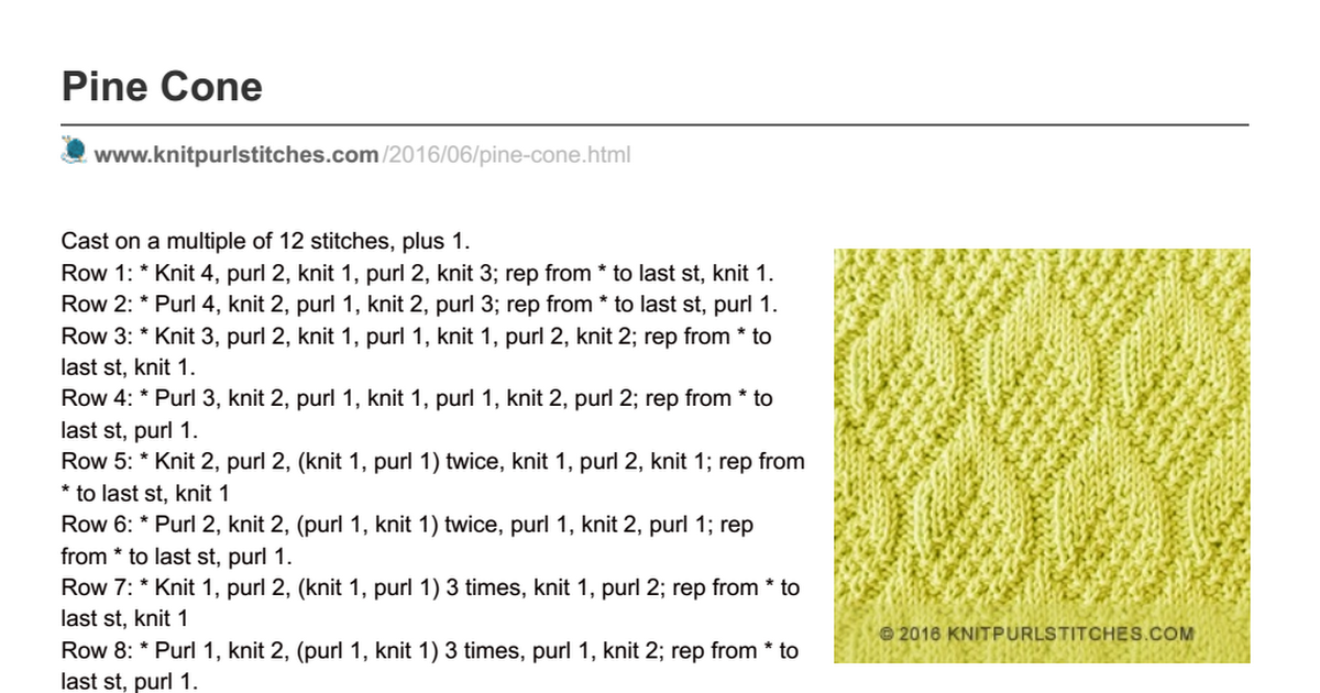 knitpurlstitches.com-Pine Cone.pdf | Knitting How To\'s | Pinterest ...