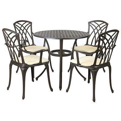 Metal Cast Aluminium 5 Piece Garden Furniture Patio Set With