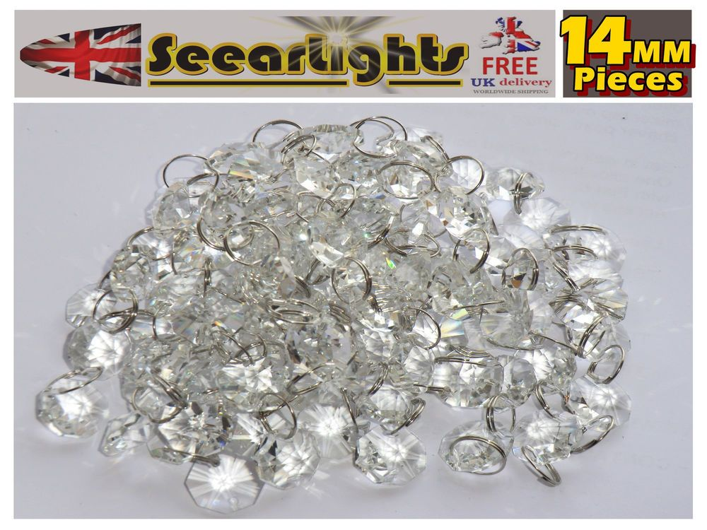 Chandelier Light Crystals Droplets 100 Cut Glass Beads Drops 14mm Craft Parts 2m