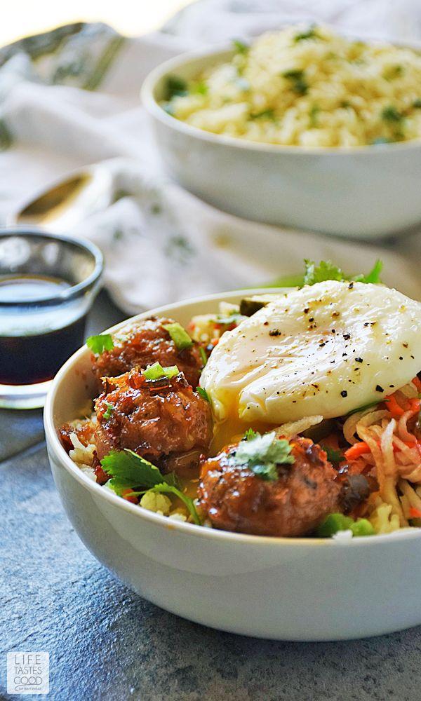 Vietnamese Bowl With Pork Meatballs Over Rice Vietnamese