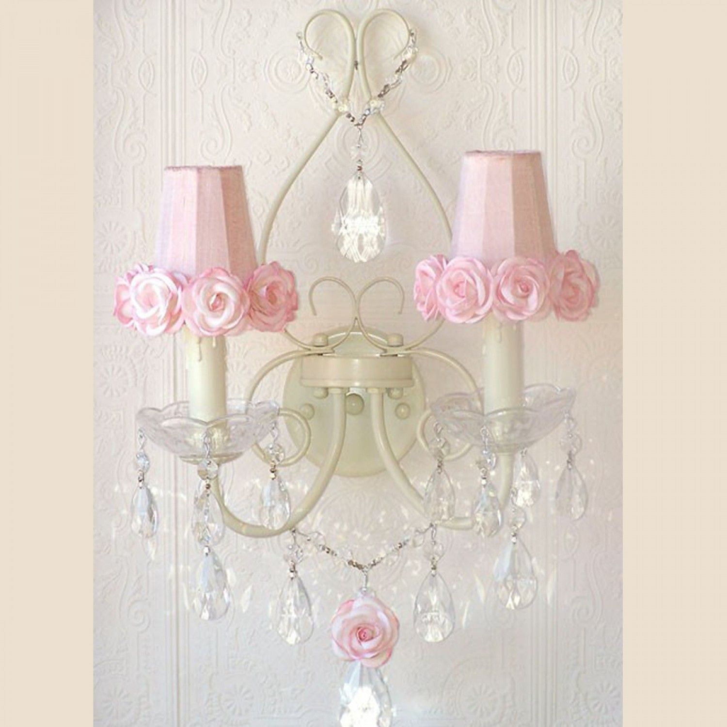 Exquisite Rose Double Light Wall Sconce with Pink Rose Shades