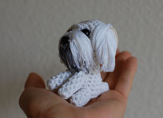 Miniature Maltese Crochet tiny Maltese Tiny amigurumi | 413x570