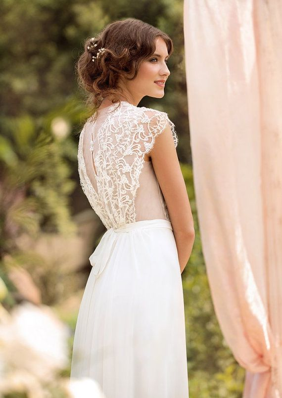 Wedding Dress Designer Gown Bohemian Beach With French Lace Made To Order On