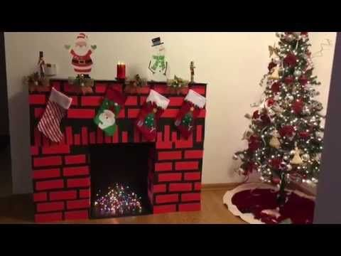 C mo hacer una chimenea de cart n youtube navidad - Hacer chimenea decorativa ...