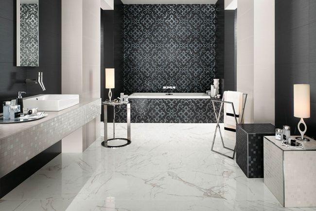 badezimmer schwarz weiß marmor fliesen barock motive atlas ... | {Badezimmer fliesen mosaik schwarz 70}