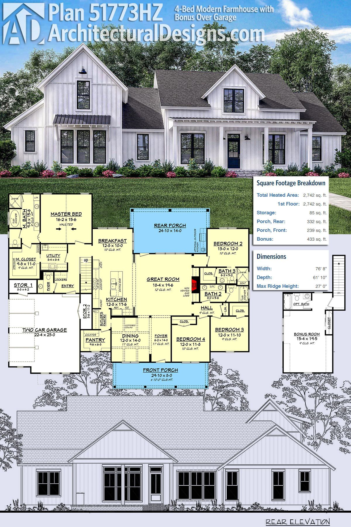plan 51773hz 4 bed modern farmhouse with bonus over garage